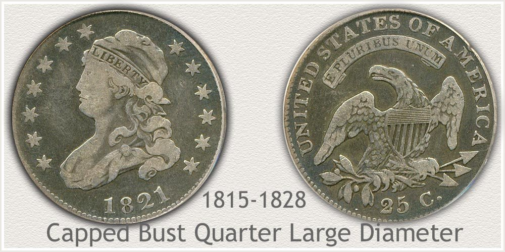 Obverse and Reverse of Capped Bust - Large Variety Quarter