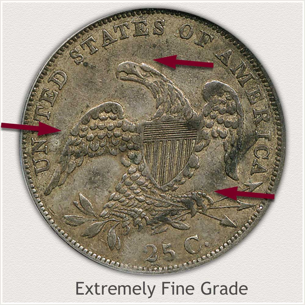 Reverse View: Extremely Fine Grade Capped Bust Quarter Small Diameter