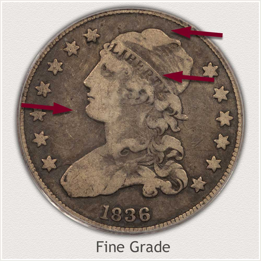 Obverse View: Fine Grade Capped Bust Quarter Small Diameter