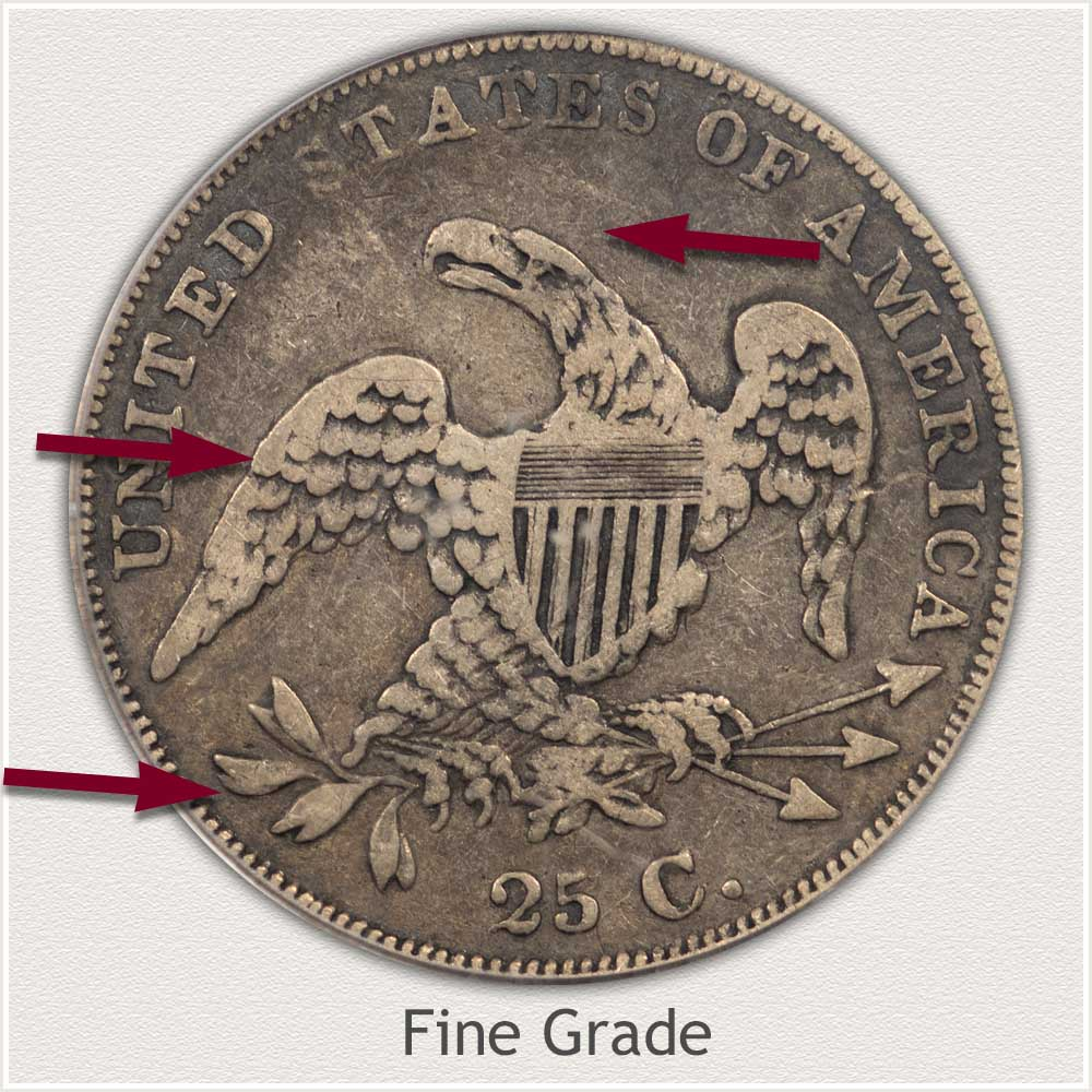 Reverse View: Fine Grade Capped Bust Quarter Small Diameter
