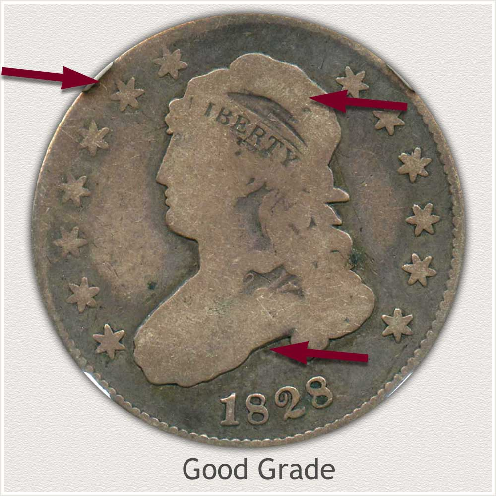 Obverse View: Good Grade Capped Bust Quarter Small Diameter