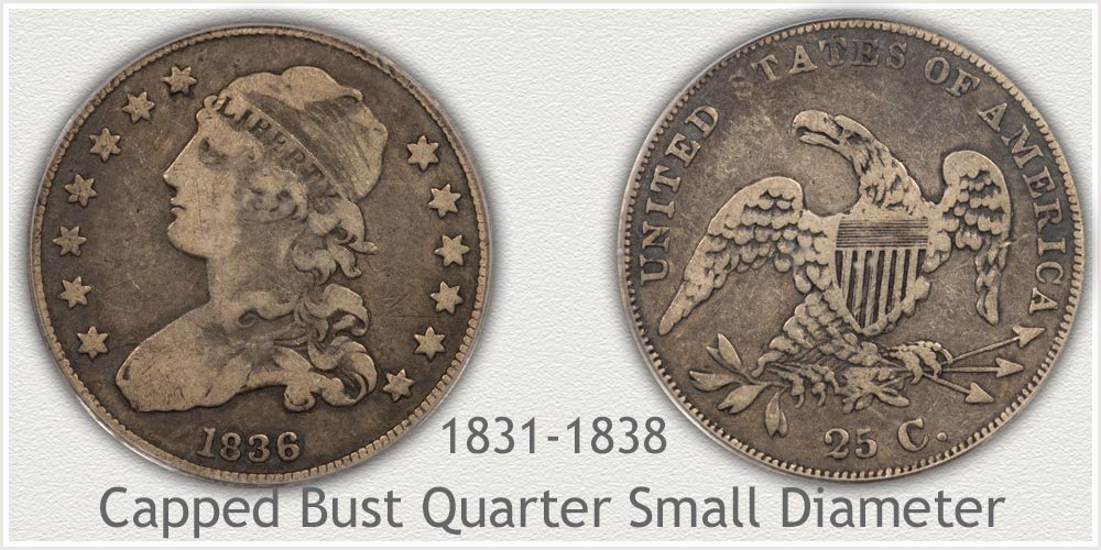 Obverse and Reverse of Capped Bust - Small Variety Quarter