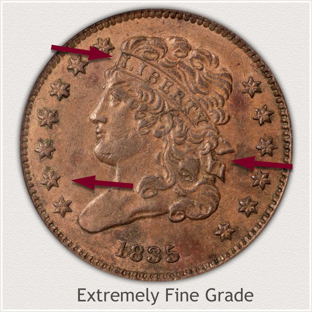 Obverse View: Extremely Fine Grade Classic Head Half Cent