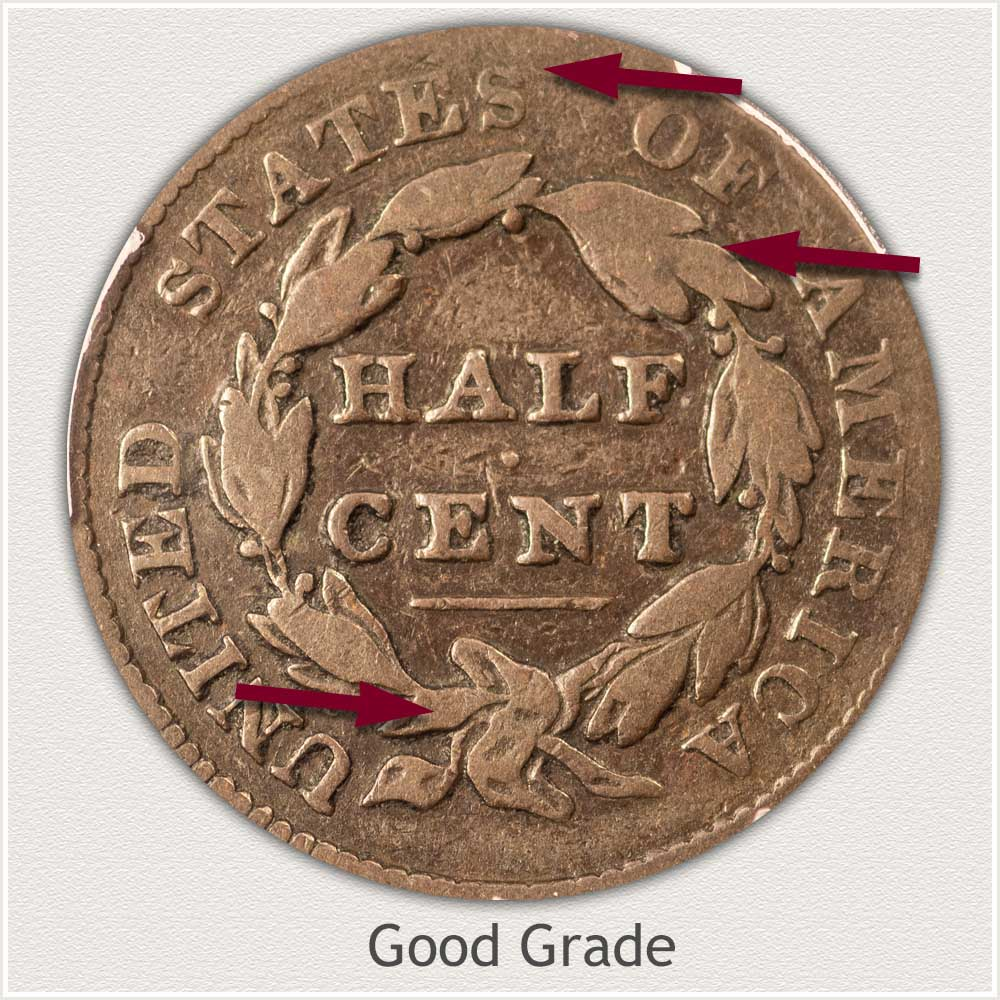 Reverse View: Good Grade Classic Head Half Cent