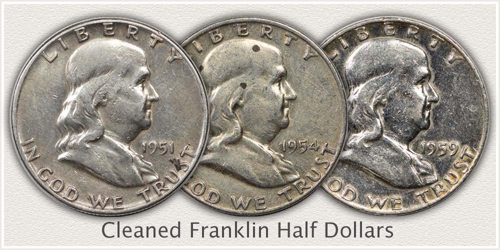 Franklin Half Dollars Cleaned
