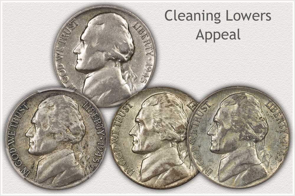 A Cleaned Jefferson Nickel Compared to Non Cleaned Nickels