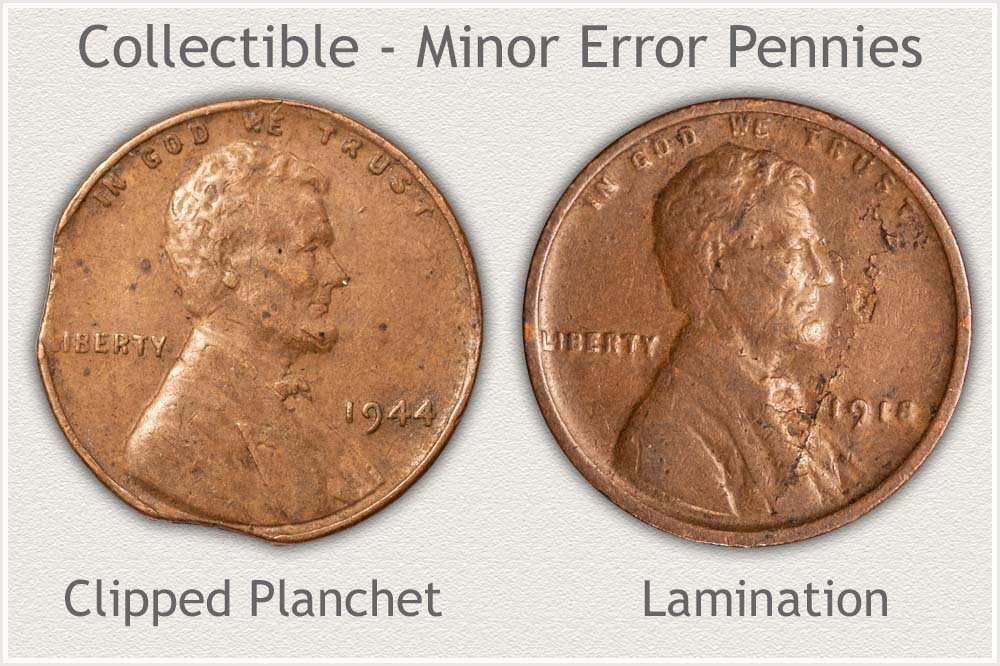1944 Clipped Planchet Cent and 1918 Lamination Cent