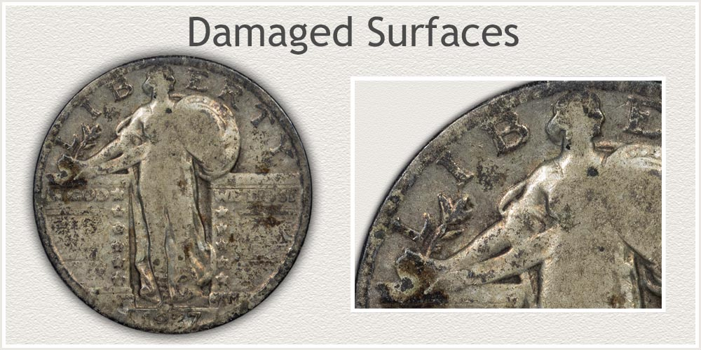 Close-up of Corrosion of a Standing Liberty Quarter