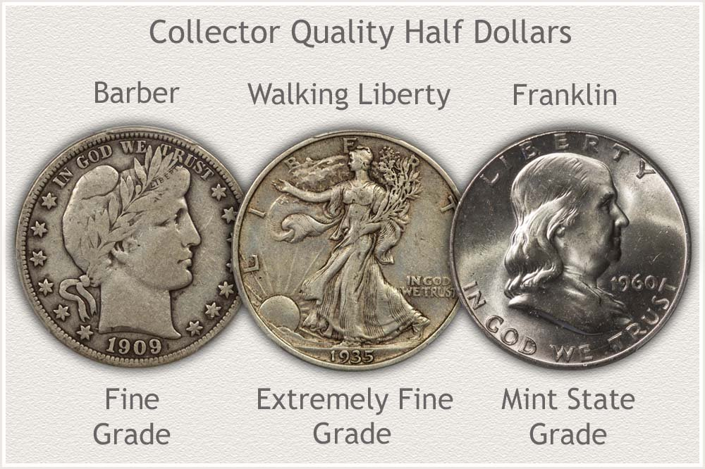Collector Grade Half Dollars: Barber, Walking Liberty, and Franklin Half Dollars