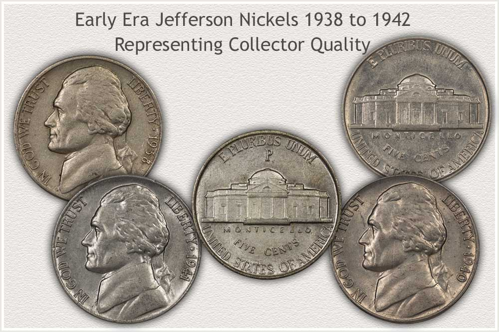 Group of Collector Quality Jefferson Nickels