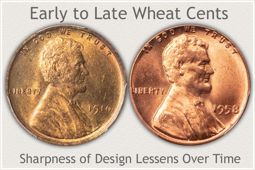 Comparison of Design Rendering of Early to Later Wheat Cents