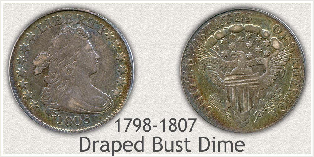 Obverse and Reverse of Draped Bust Dime