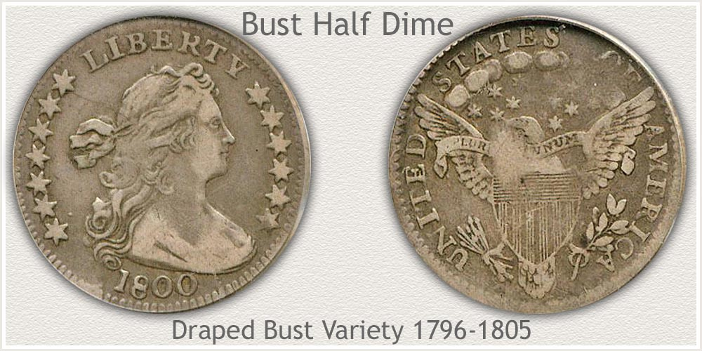 Obverse and Reverse Draped Bust Half Dime