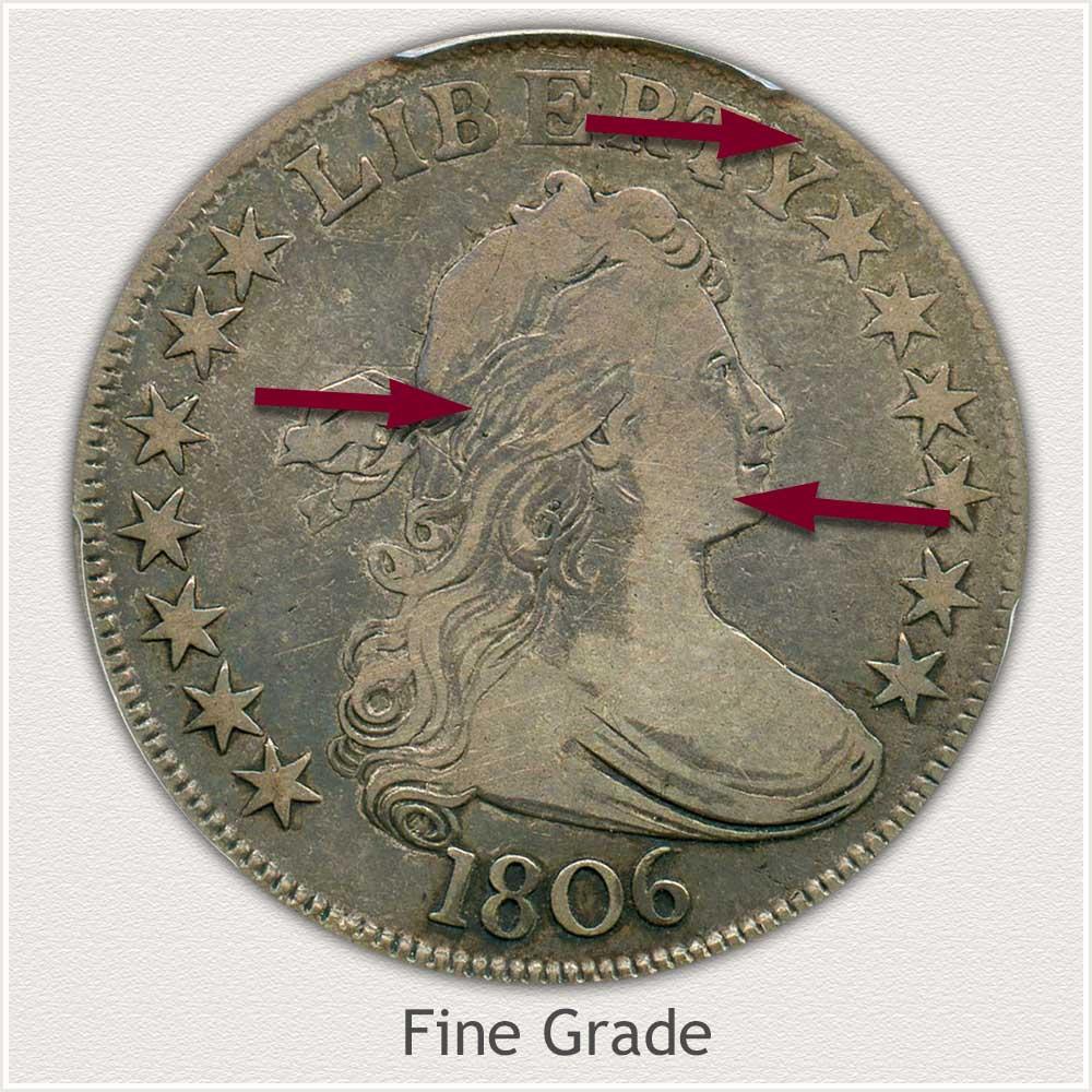 Obverse View: Fine Grade Draped Bust Half Dollar