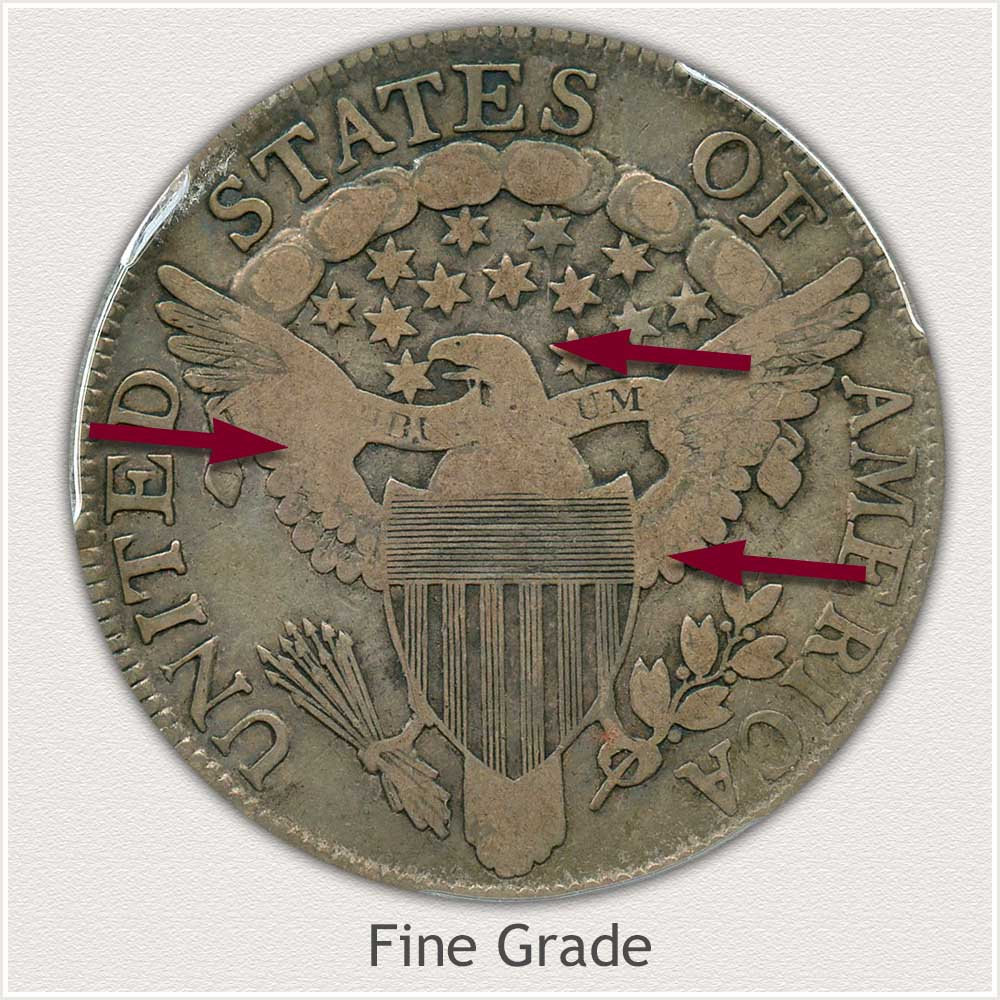 Reverse View: Fine Grade Draped Bust Half Dollar