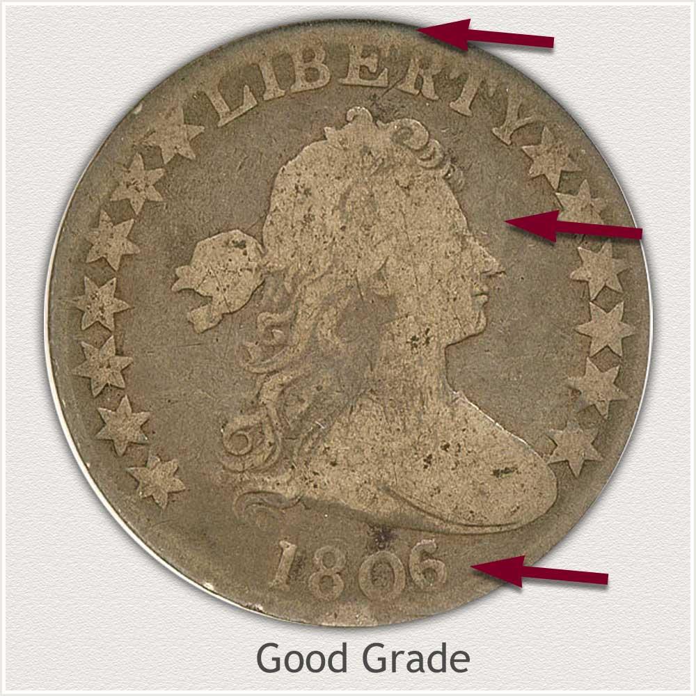 Obverse View: Good Grade Draped Bust Half Dollar