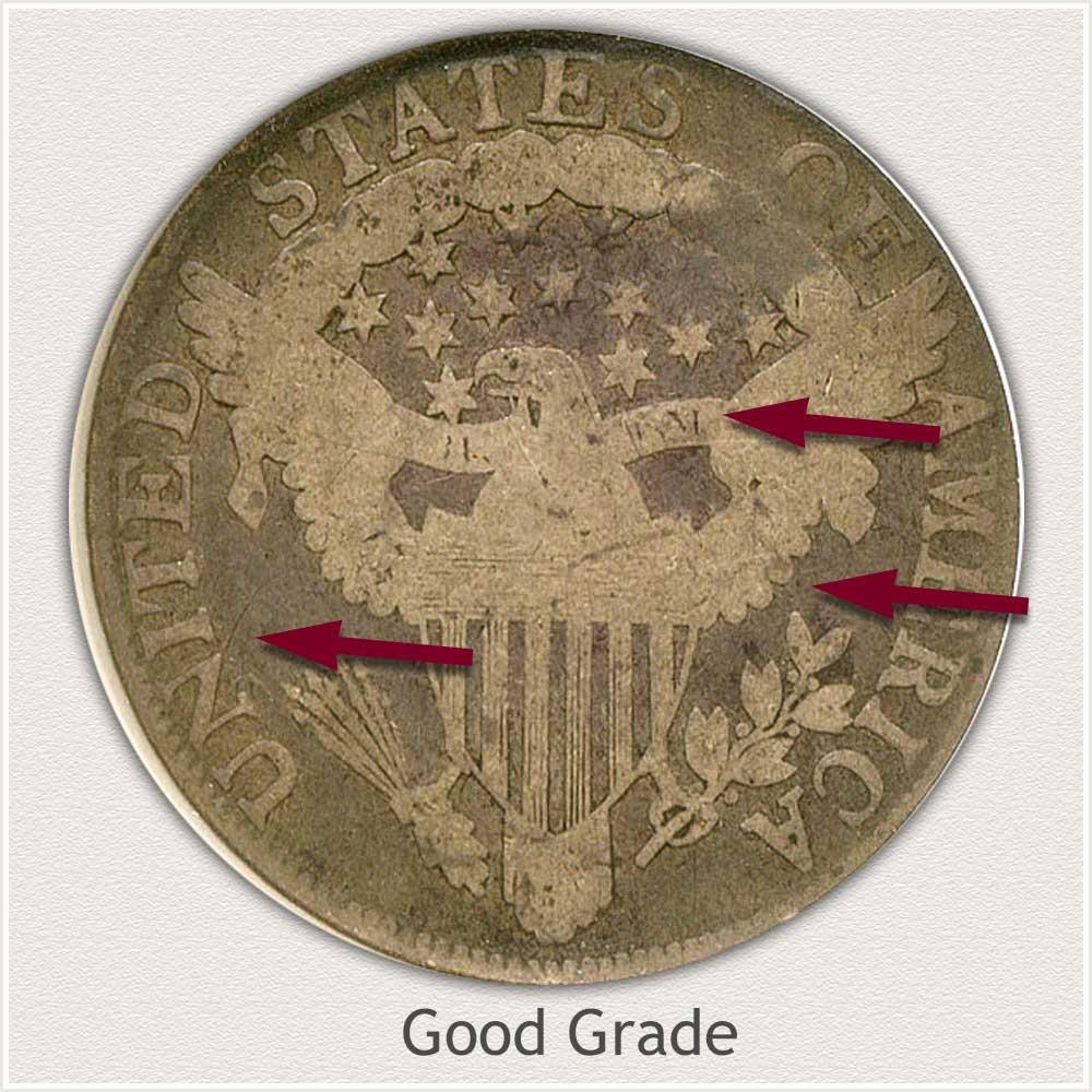 Reverse View: Good Grade Draped Bust Half Dollar