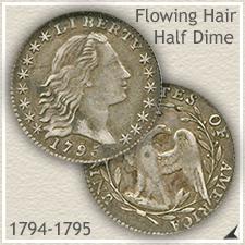 Flowing Hair Bust Half Dime Type