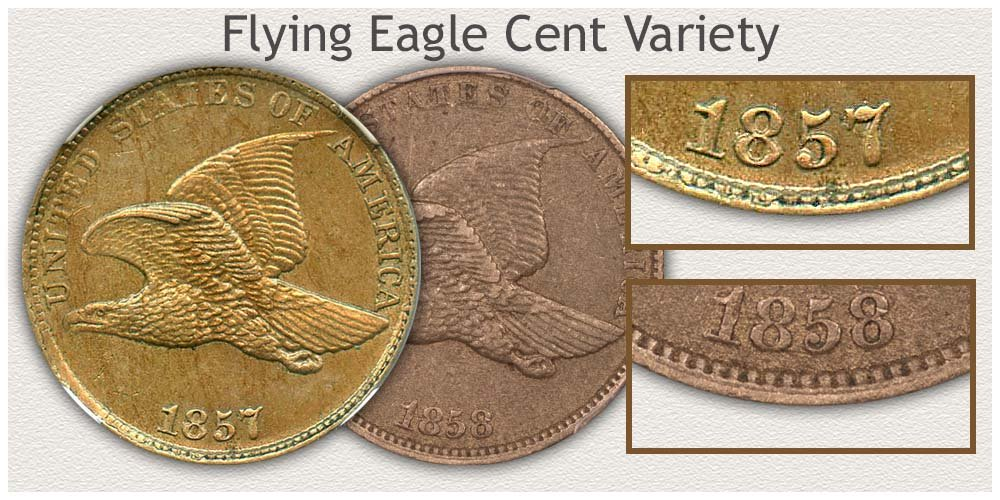 Close View of Flying Eagle Penny Date