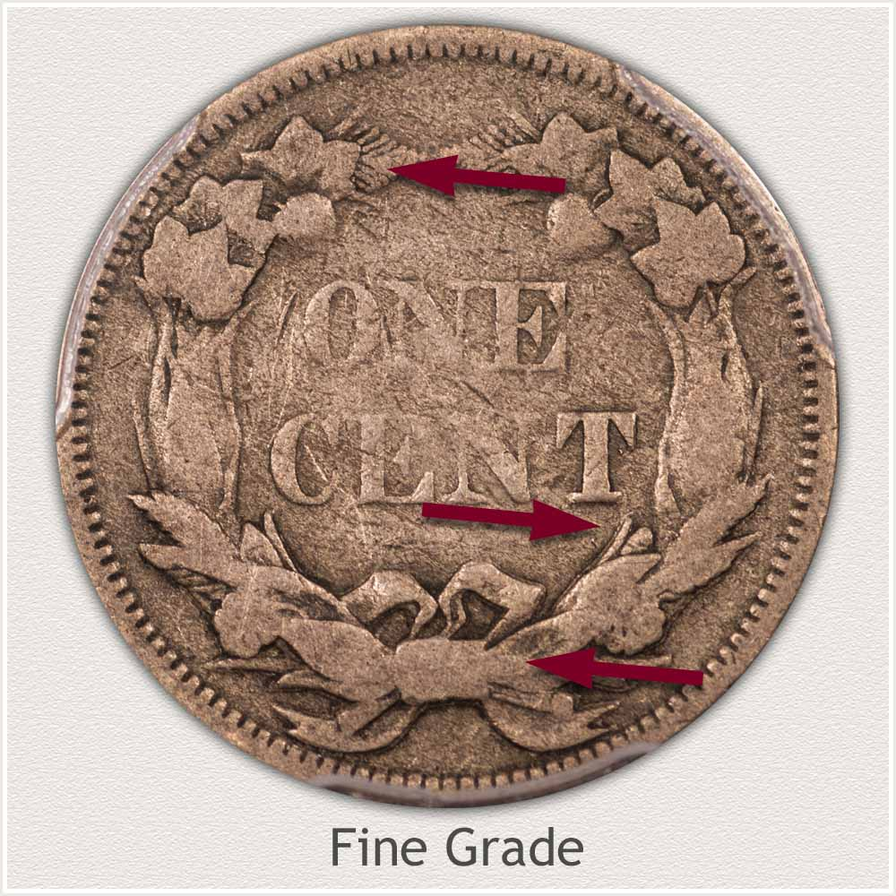 Reverse View: Fine Grade Flying Eagle Penny