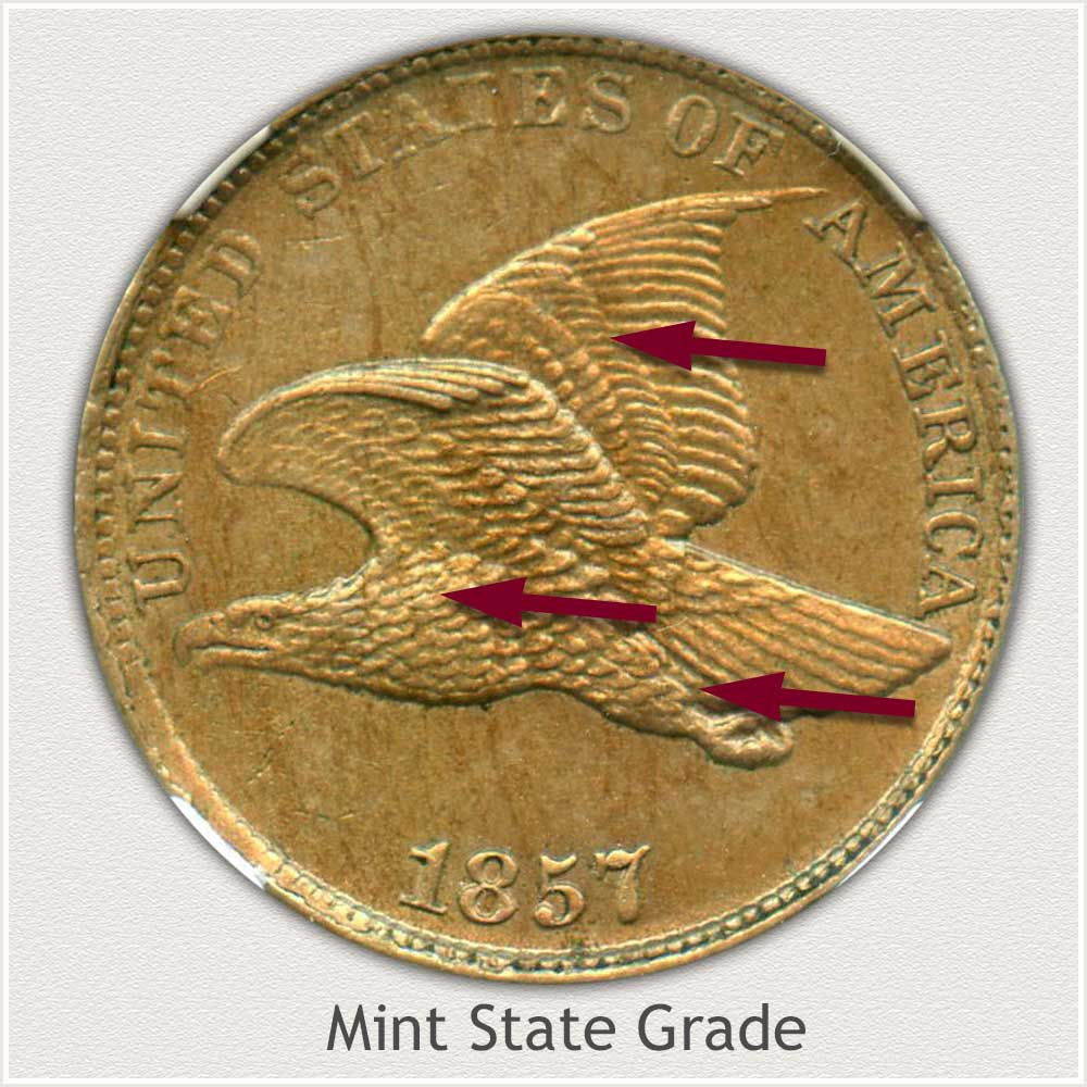 Obverse View: Mint State Grade Flying Eagle Penny