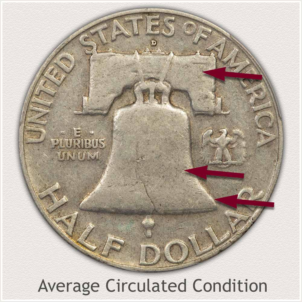 Reverse View: Average Circulation Condition Franklin Half Dollar