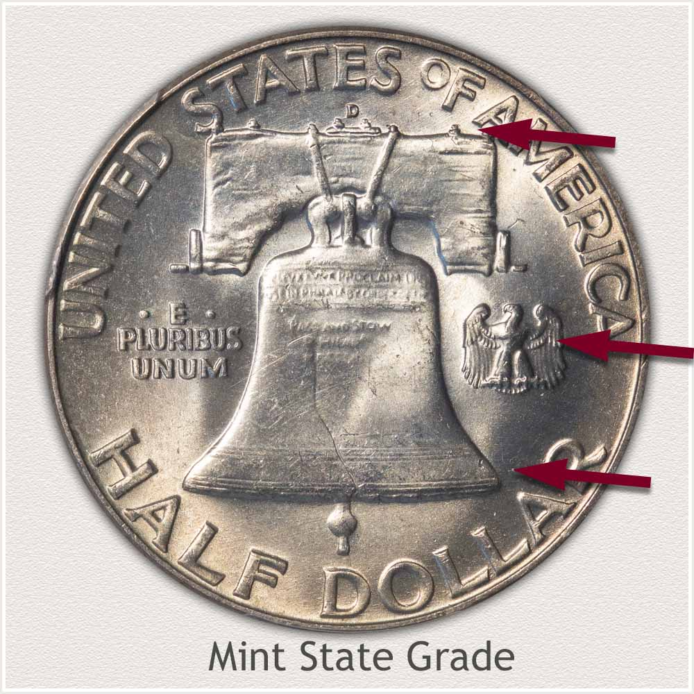 Reverse View: Mint State Grade Franklin Half Dollar