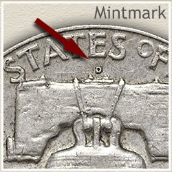 Franklin Half Dollar Mintmark Location