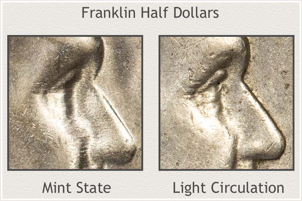 Close-Up of Mint State and Circulated Franklin Half Dollars