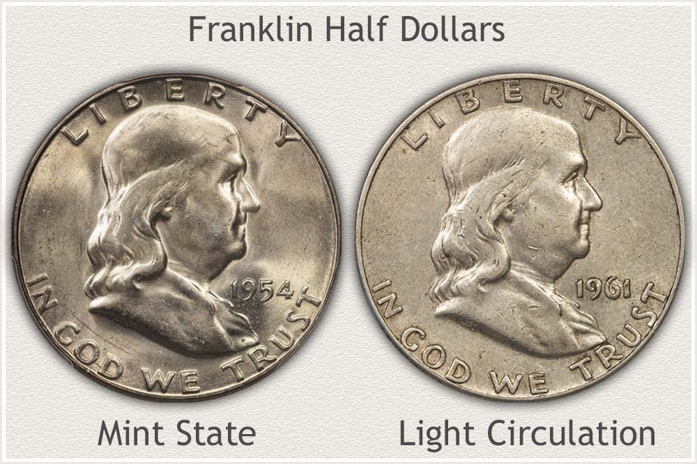 Mint State and Circulated Franklin Half Dollars