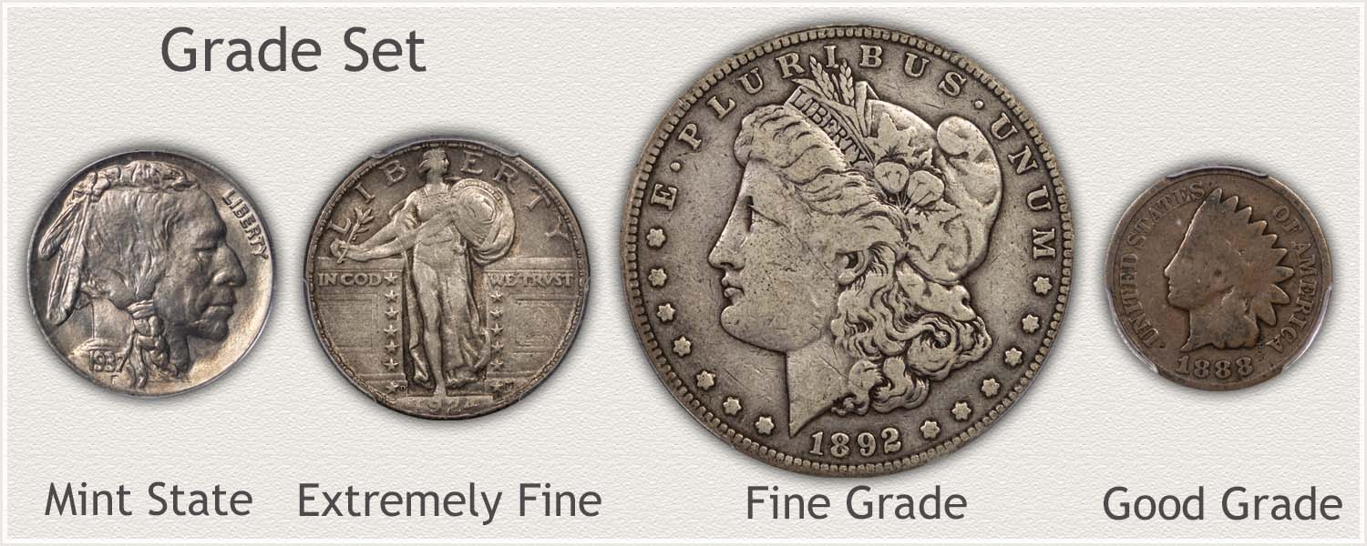 Grade Set: Buffalo Nickel, Standing Quarter, Morgan Dollar, and Indian Penny