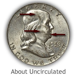 Grading Obverse About Uncirculated Franklin Half Dollar