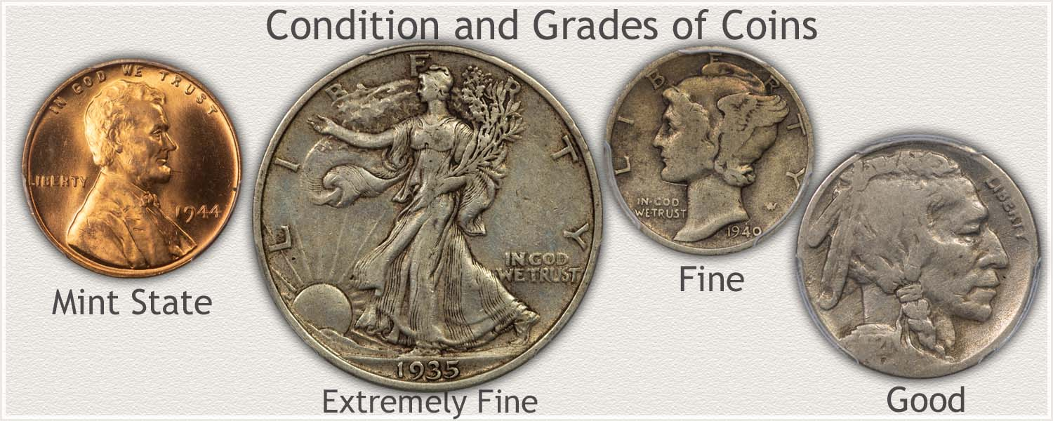 Coins Representing Grades: Mint State, Extremely Fine, Fine, and Good Grades
