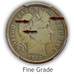 Grading Obverse Fine Condition Barber Dimes