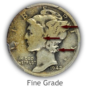 Grading Obverse Fine Condition Mercury Dimes