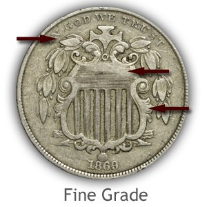 Grading Obverse Fine Condition Shield Nickels