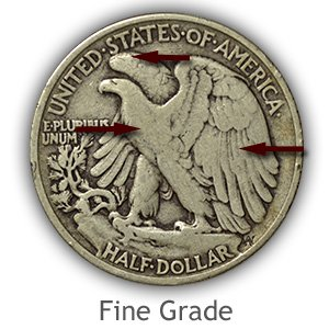 Grading Reverse Fine Walking Liberty Half Dollar