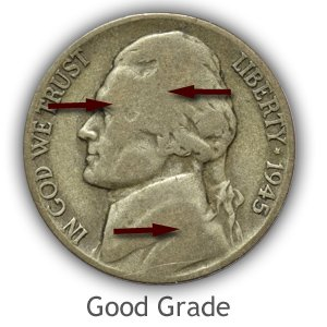 Grading Obverse Good Condition Jefferson Nickels