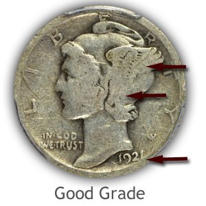 Grading Obverse Good Condition Mercury Dimes
