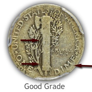 Grading Reverse Good Condition Mercury Dimes