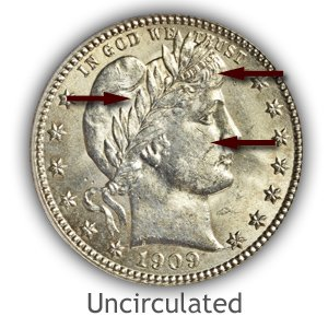 Grading Obverse Uncirculated Barber Quarters