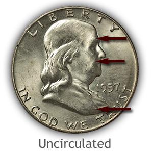 Grading Obverse Uncirculated Franklin Half Dollar