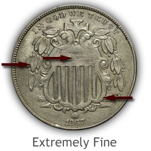 Grading Obverse Extremely Fine Condition Shield Nickels