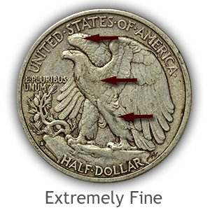 Grading Reverse Extremely Fine Walking Liberty Half Dollar