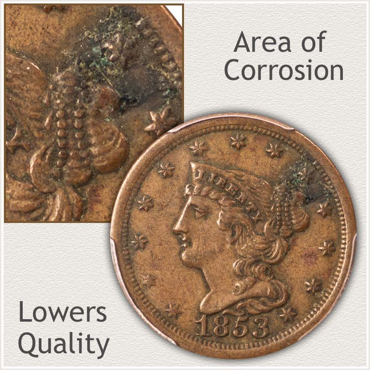 Half Cent with Corrosion on Obverse