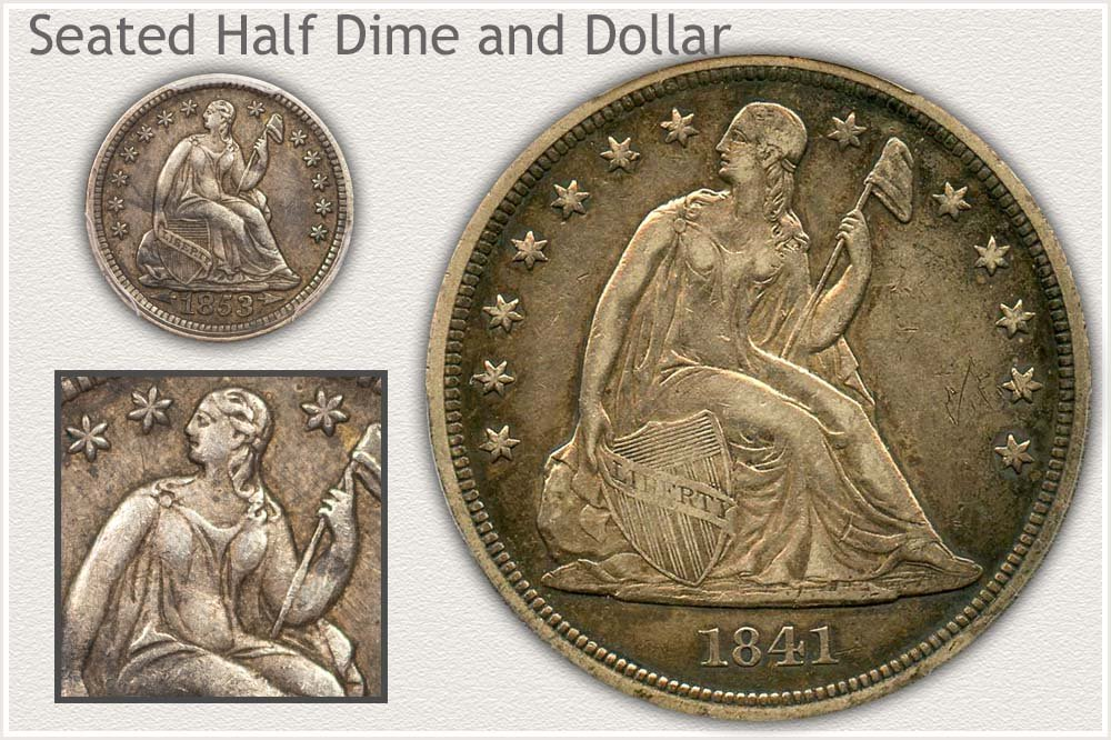 Seated Half Dime and Dollar Comparison