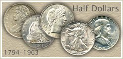 Go to...  Early Bust, Seated Liberty, Barber, Walking Liberty and Franklin Half Dollar Value