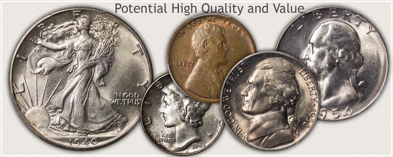 High Grade: Lincoln Cent, Mercury Dime, Washington Quarter, and Walking Liberty Half Dollar