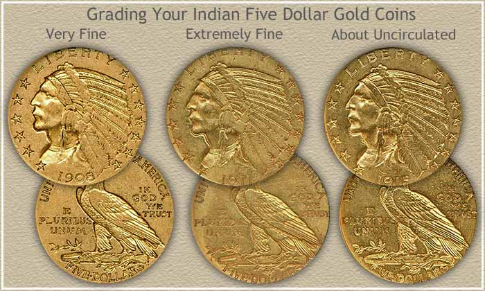 Indian Five Dollar Gold Coin Grading