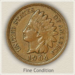 1874 Indian Head Penny Fine Condition